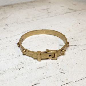 JCrew Hinged Belt Clasp Bangle Bracelet Gold Tone